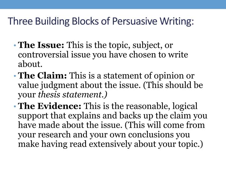 Three building blocks of persuasive writing