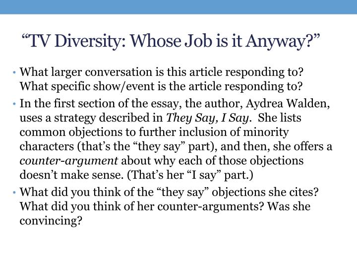 """TV Diversity: Whose Job is it Anyway?"""