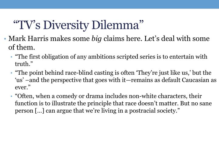 """TV's Diversity Dilemma"""