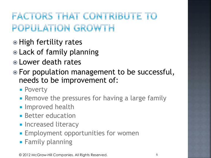 Factors that contribute to population growth