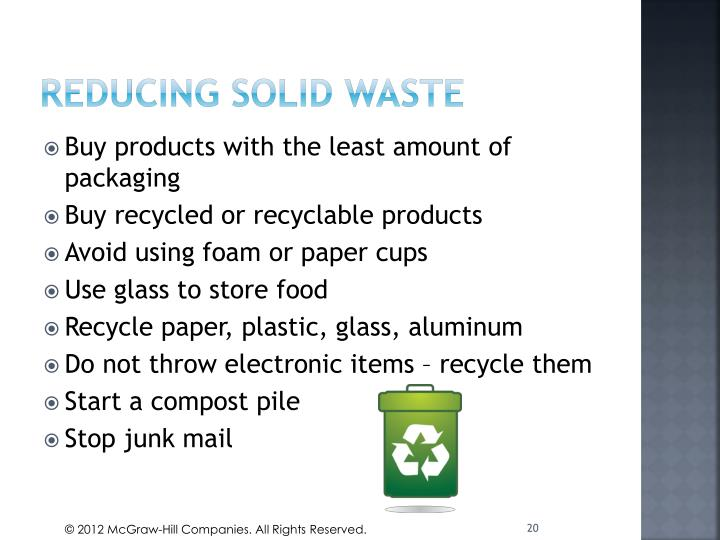 Reducing Solid waste