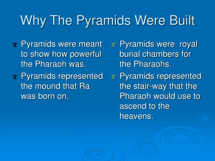 Pyramids were meant to show how powerful the Pharaoh was.