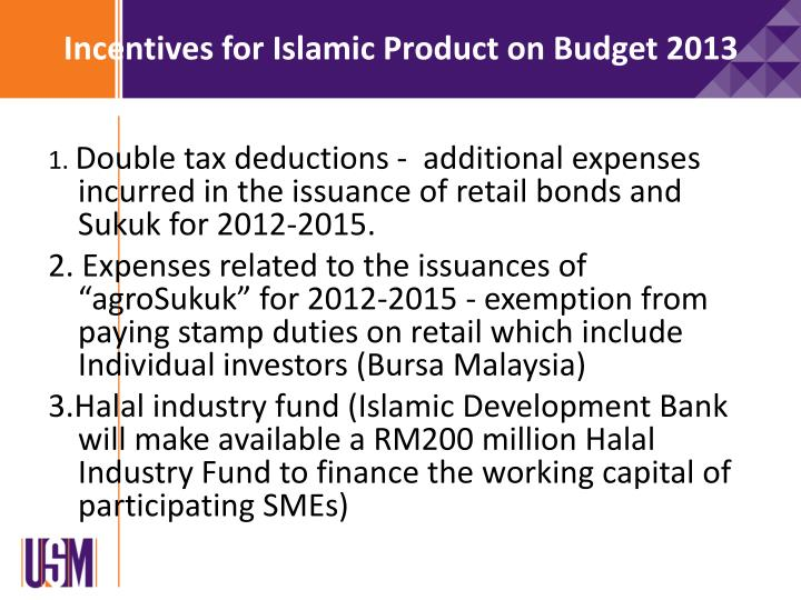 Incentives for Islamic Product on Budget 2013