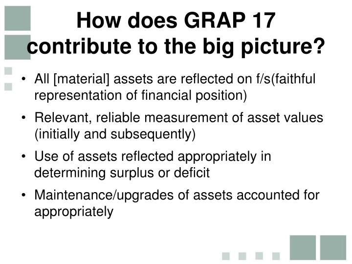 How does GRAP 17 contribute to the big picture?