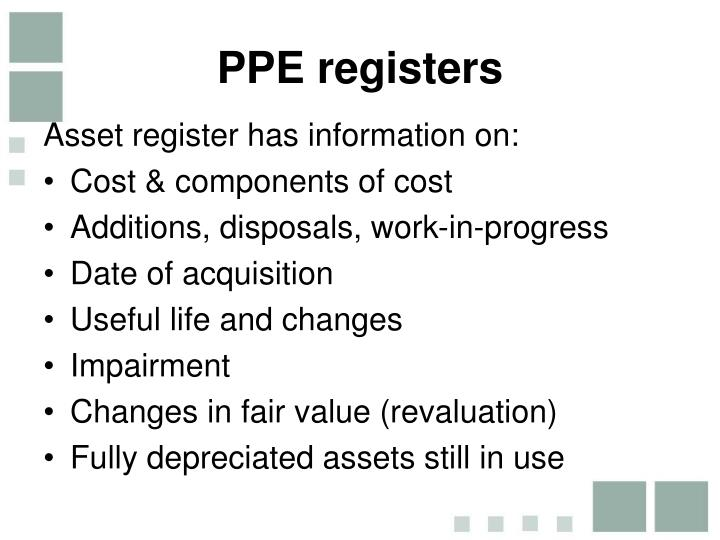 PPE registers