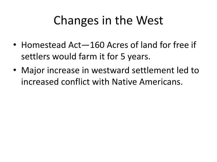 Changes in the West