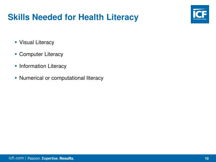 Skills Needed for Health Literacy