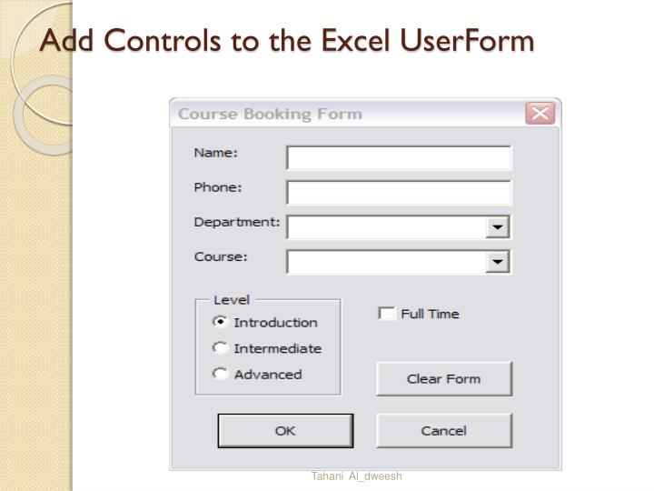 Add Controls to the Excel UserForm