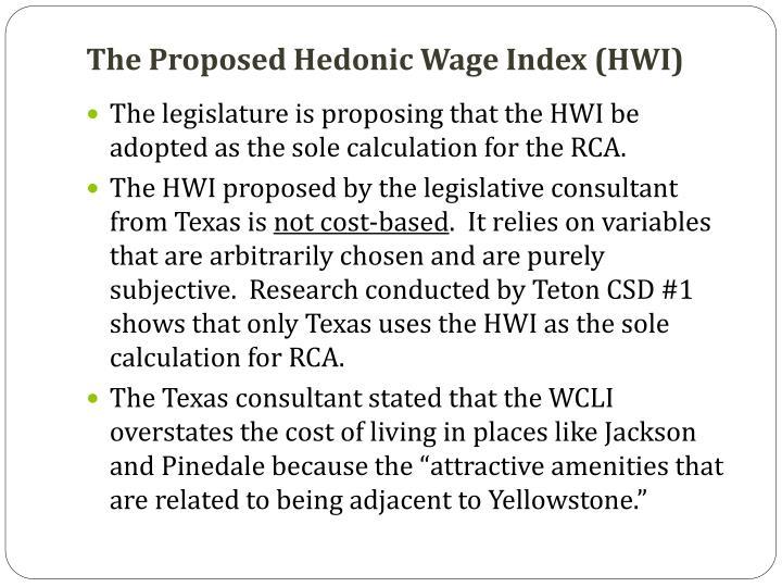 The Proposed Hedonic Wage Index (HWI)