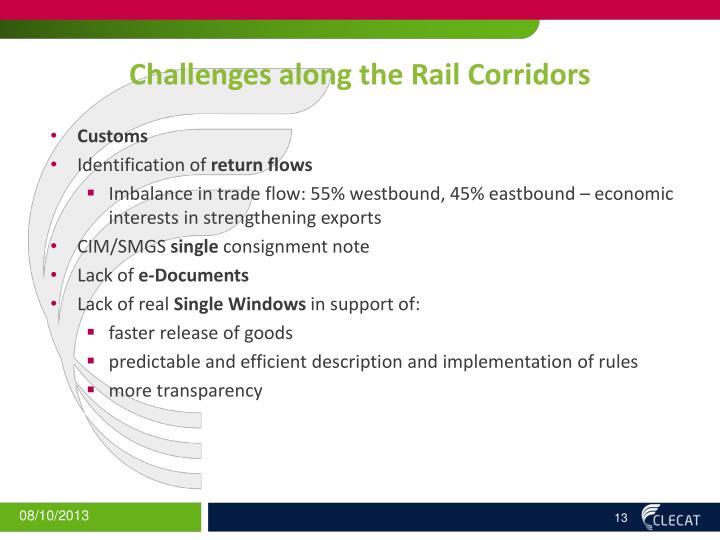 Challenges along the Rail Corridors