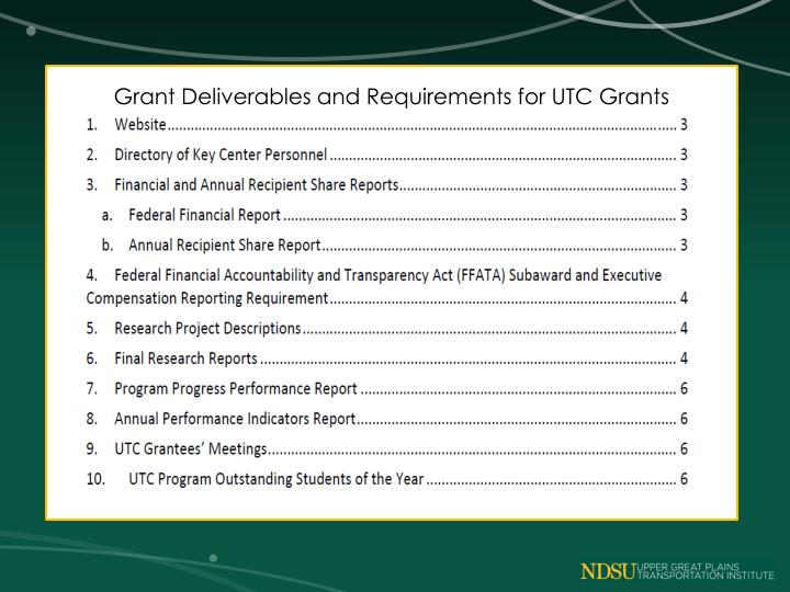 Grant Deliverables and Requirements for UTC Grants