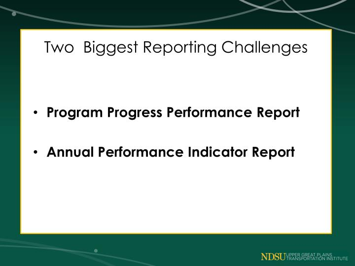 Two  Biggest Reporting Challenges