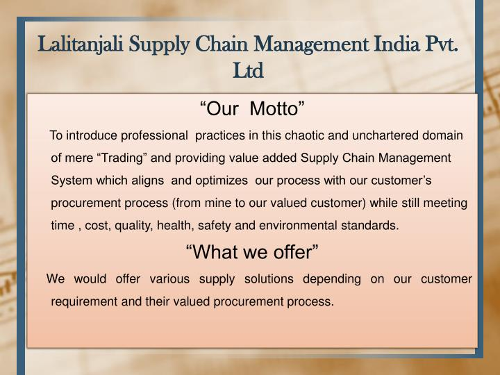 Lalitanjali Supply Chain Management India Pvt. Ltd