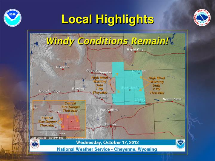 Strong low pressure over the northern Plains will produce strong gusty winds across the area through Thursday afternoon. Winds will decrease somewhat this evening but will quickly increase and become strong after sunrise Thursday. Sustained winds of 35 to 45 mph can be expected with gusts upwards of 65 mph. The strongest winds will occur across the western Nebraska panhandle and adjacent areas of southeast Wyoming where a High Wind Warning is in effect through Thursday afternoon. Farther west winds will not be quite as strong but frequent gusts of 40 to 50 mph will be common through Thursday afternoon. This includes much of interstate 80 and interstate 25 in southeast Wyoming.
