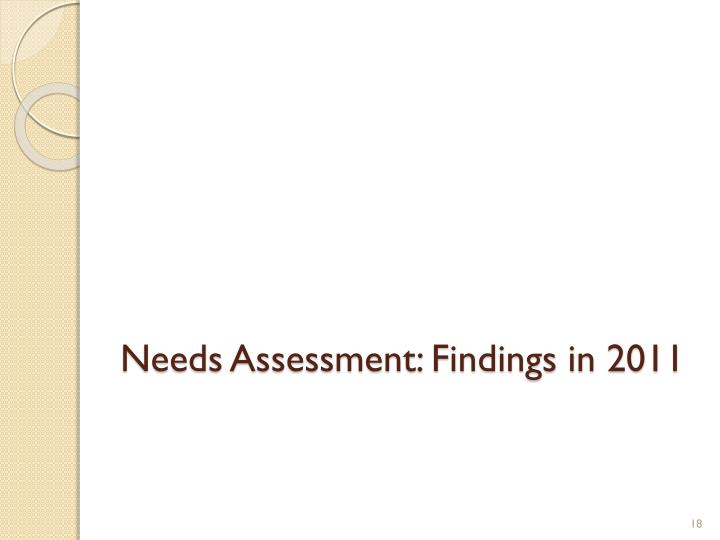 Needs Assessment: Findings in 2011
