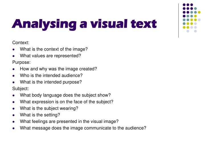 Analysing a visual text