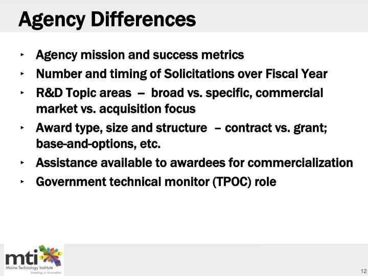 Agency Differences