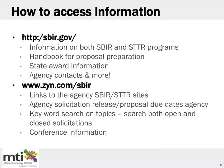 How to access information