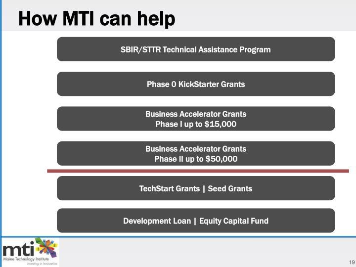 How MTI can help