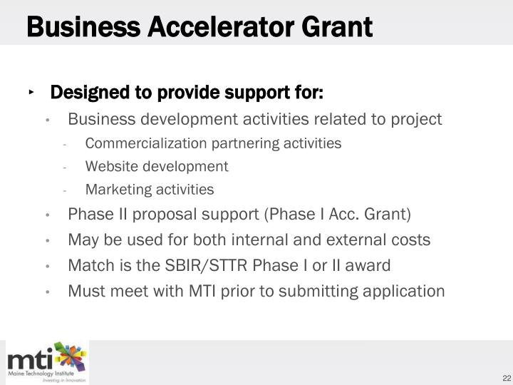 Business Accelerator Grant
