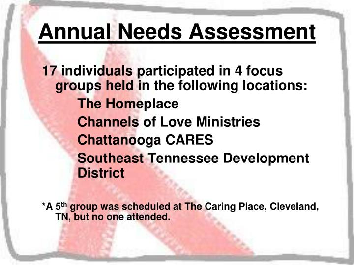 17 individuals participated in 4 focus groups held in the following locations: