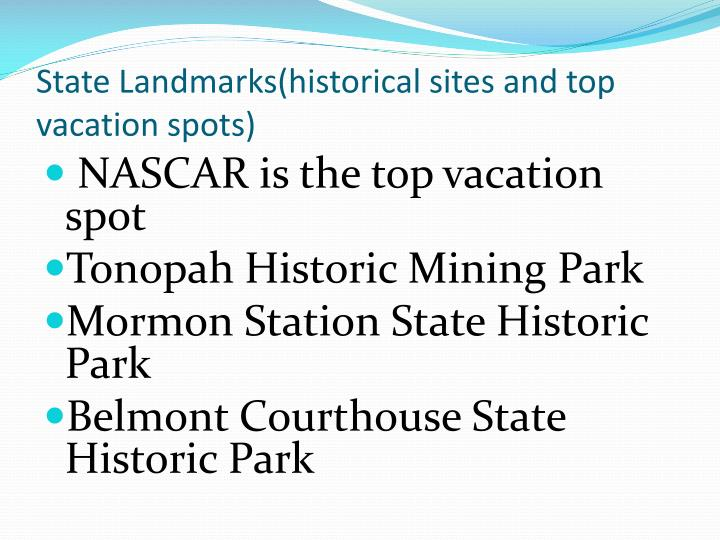 State Landmarks(historical sites and top