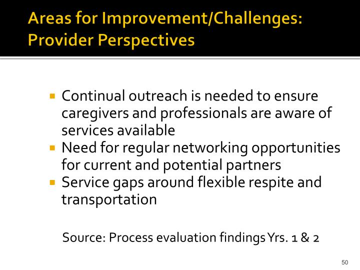 Areas for Improvement/Challenges: Provider Perspectives