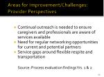 areas for improvement challenges provider perspectives
