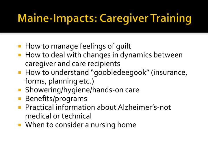 Maine-Impacts: Caregiver Training