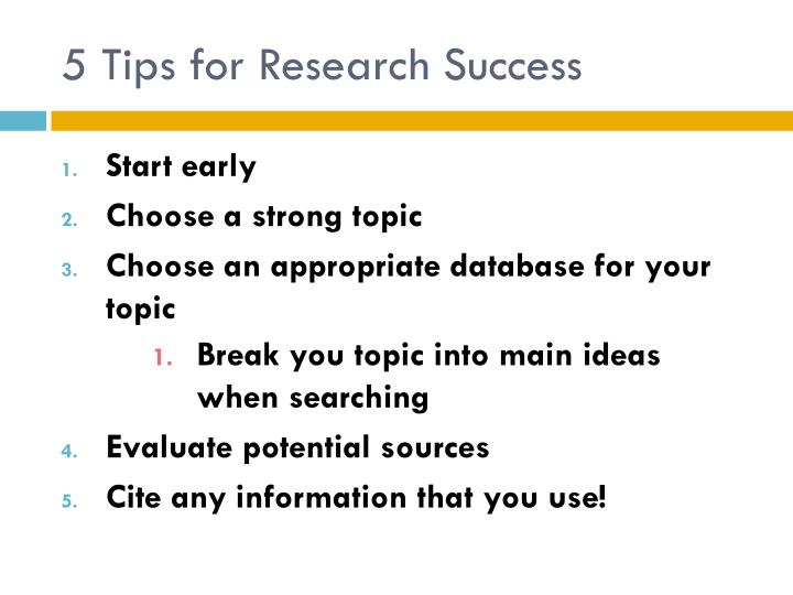 5 Tips for Research Success