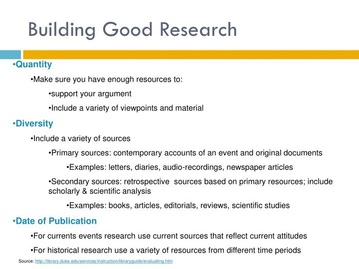 Building Good Research