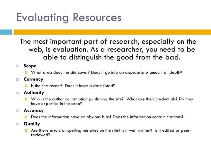 Evaluating Resources