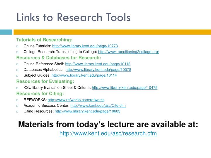 Links to Research Tools