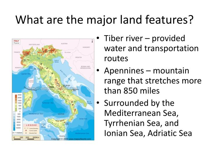 What are the major land features