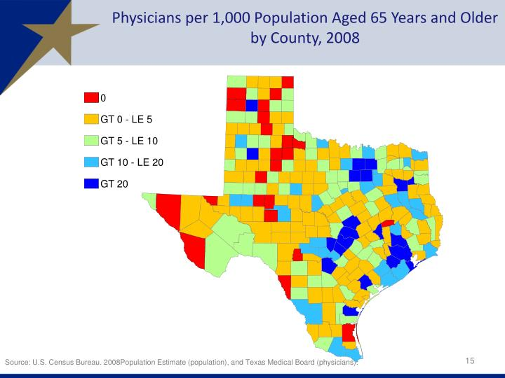Physicians per 1,000 Population Aged 65 Years and Older by County, 2008