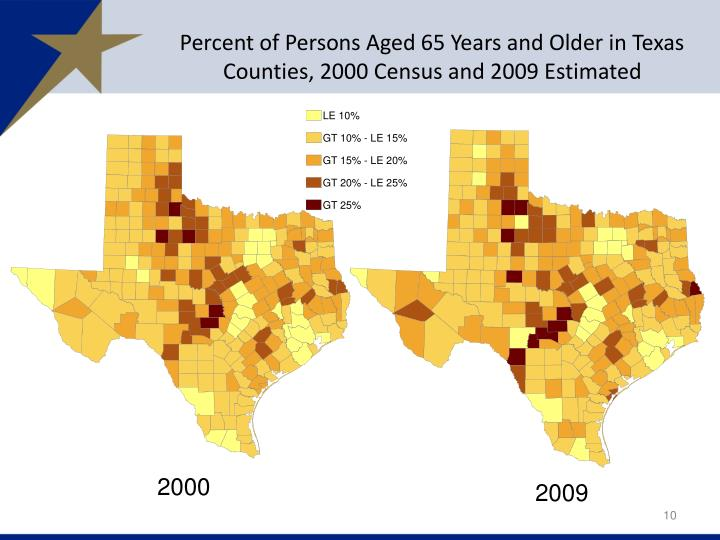 Percent of Persons Aged 65 Years and Older in Texas Counties, 2000 Census and 2009 Estimated