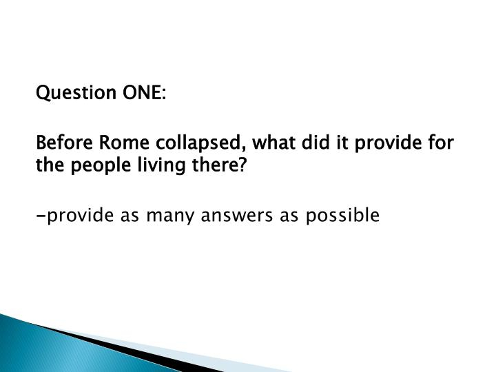 Question ONE: