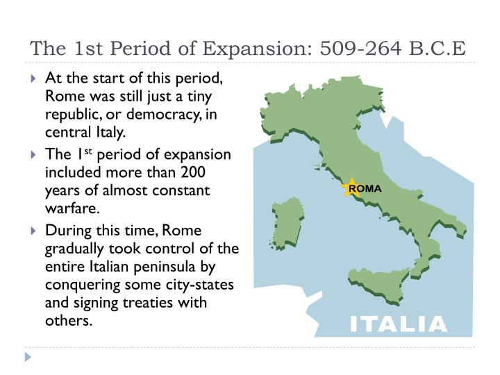 The 1st Period of Expansion: 509-264 B.C.E