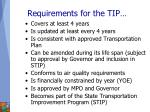 requirements for the tip