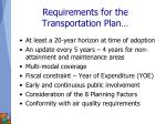 requirements for the transportation plan