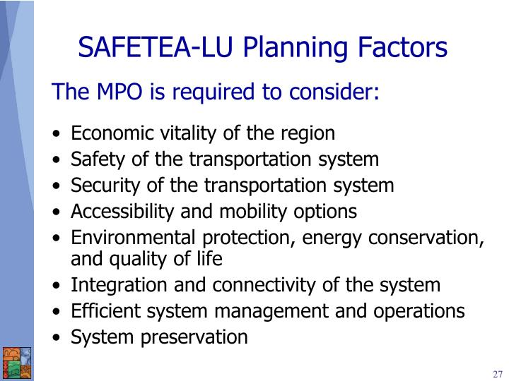 SAFETEA-LU Planning Factors
