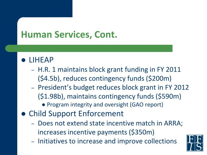Human Services, Cont.