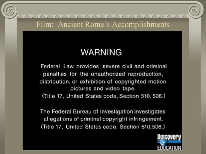 Film:  Ancient Rome's Accomplishments