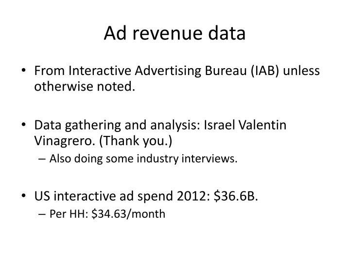 Ad revenue data