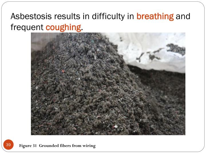 Asbestosis results in difficulty in