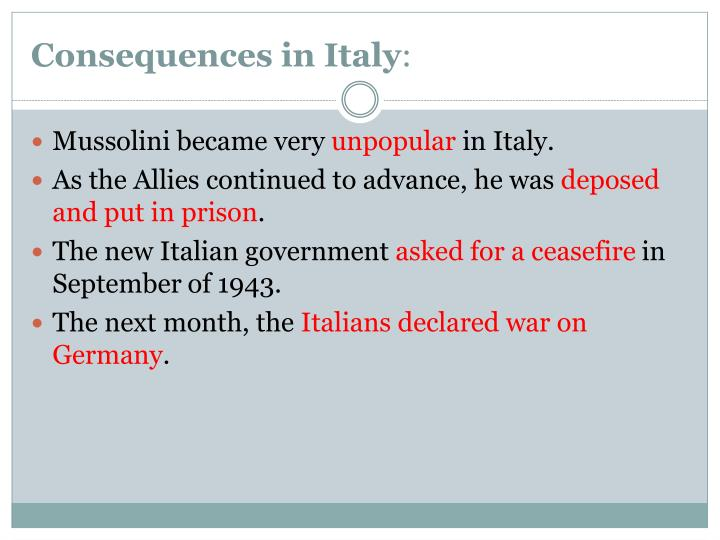 Consequences in Italy