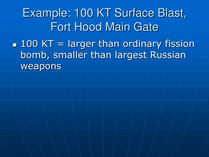 Example: 100 KT Surface Blast, Fort Hood Main Gate