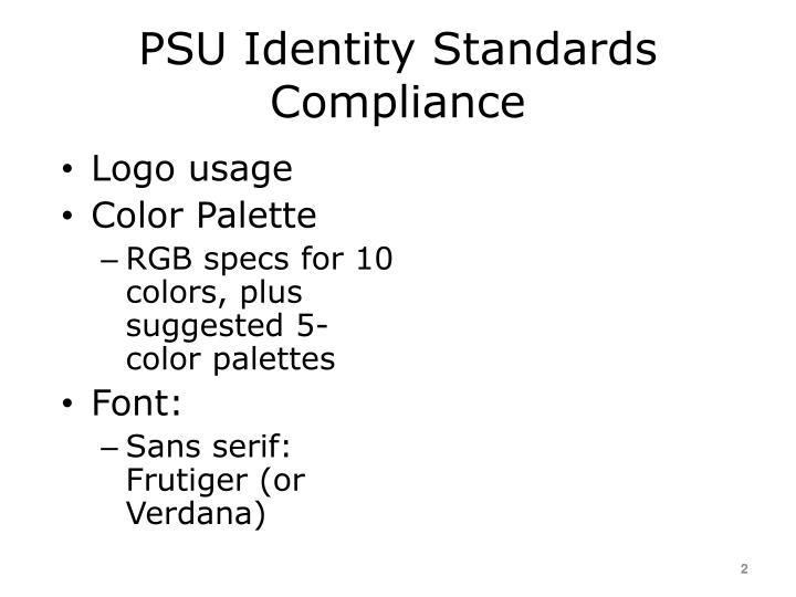 PSU Identity Standards Compliance