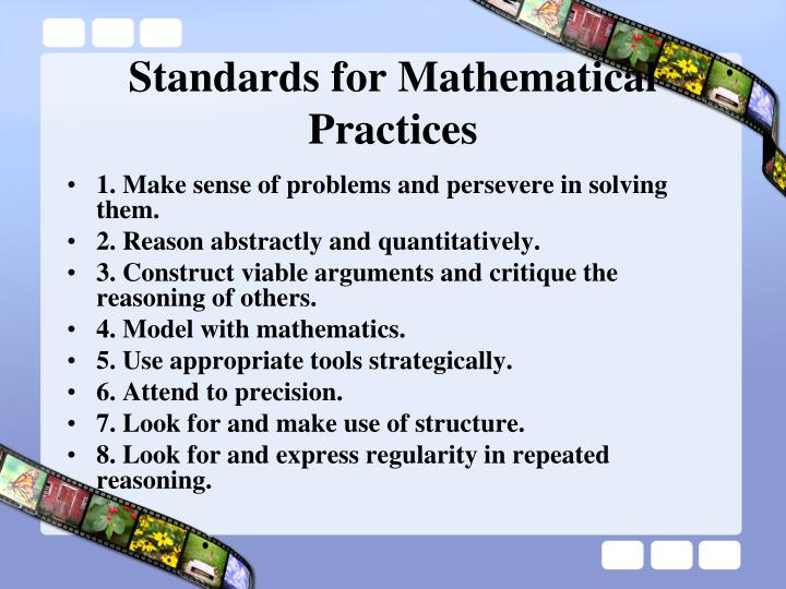 Standards for mathematical practices
