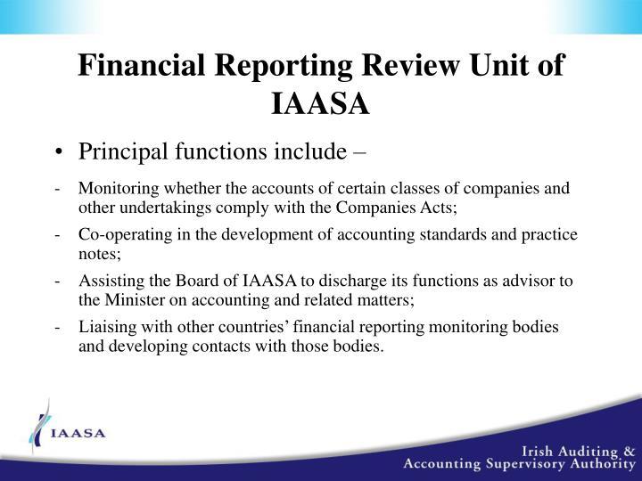 Financial Reporting Review Unit of IAASA